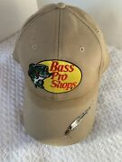 Bass Pro Shops Hat Beige With Brim Decal Of Fishing Lure Adjustable