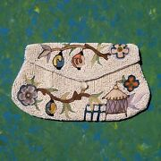 Small Antique Beaded And Embroidered Evening Bag/purse And Mirror