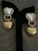Vintage Anne Klein Rare Heart Brushed Gold Faux Pearl Earrings Clip-on Gold