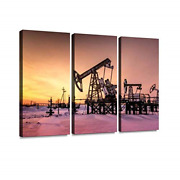 Pump Jack, Wellhead And Pipeline During Sunset In The Oilfield Oil Wall Artwork