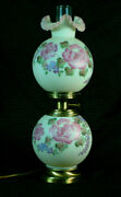 Fenton White Satin Floral Gone With The Wind Lamp