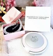 New Silver Tone Mesh Rock Crystal Bracelet And Avon Pink Ab Crystal Mirror Compact