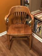 Antique Hardwood Jury Lawyer Banker Arm Chair Office