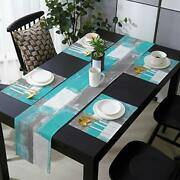 Farmhouse Placemats With Burlap Table Runner 70 Inches Long Turquoise And Gre...