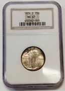 Stunning 1924-d Silver Standing Liberty Quarter Graded Ngc Ms67 Gorgeous Coin