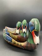 3 Hand Painted And Carved Wood Folk Art Mallard Duck Tray Dish