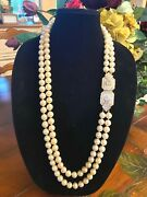 Vintage Christian Dior Gold Plated Long Double Pearl Strand Crystal Necklace