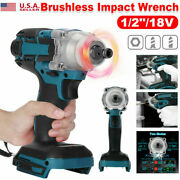 520nm 1/2 For Makita 18v Brushless Cordless Impact Wrench With Battery Charger