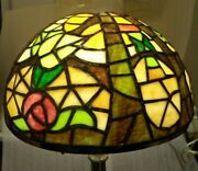 Fine Antique Leaded Glass Floral Dome Table Lamp Shade