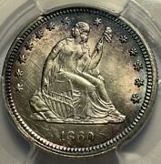 1860 Seated Liberty 50c Quarter Pcgs Certified Ms62 Attractive Toning