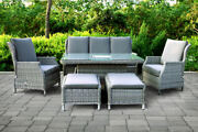 Garden Furniture Reclining Casual Sofa Dining Set With Rising Table