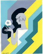 1930s French Pochoir Print Art Deco Young Woman Holding White Flower L
