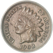 1908 Indian Head Cent About Uncirculated Penny Au