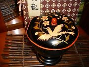 Antique 1940s Japanese Black And Red Lacquer Compote With Lid Red Interior