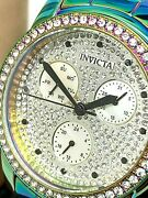 Womenand039s Watch 30032 Angel Quartz Iridescent Crystals Silver Dial 38mm