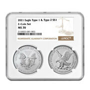 2021 1 Type 1 And Type 2 Silver Eagle Set Ngc Ms70 Brown Label