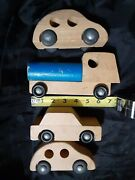 Vintage Wood Toy Lot Cars And Trucks Creative Playthings Wooden Finland And Usa