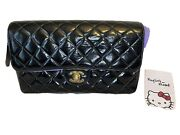 Quilted Chain Backpack Bag Purse Black Patent Leather 4003203