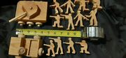 Wooden Toy Tank Jeep Millitary Army Men Lot Old Wood Toys Vintage Vtg Handmade
