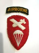 Vtg World War Ii Us Army Patches Airborne Command Parachute Snow Back W/ Tab