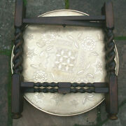 Antique Islamicbarley Twist Folding Side Table With Brass Covered Top