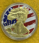 2014 American Silver Eagle Liberty Flag Usa Gold Gilded Colorized 1 Dollar Coin