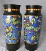Beautifully Colored And Design Pair Of Crown Ducal Ware Porcelain Vases 1920s Era