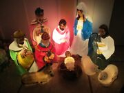 Vintage 10 Piece Empire Blow Mold Nativity Scene Lighted Christmas Blow Molds