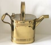 Antique English 19th C Brass Garden Flower Watering Can Hinged Top Reinforced