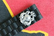 22mm Military Diver Black Rubber Heavy Duty Deployment Watch Band Buckle Strap E