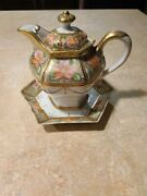 Antique Nippon Porcelain Syrup Pitcher Individual Teapot With Under Plate Flower