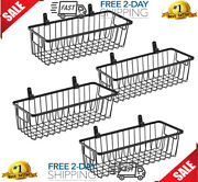 Metal Wire Bin Basket With Wall Mount Small 4 Pack Portable Hanging Wall Basket