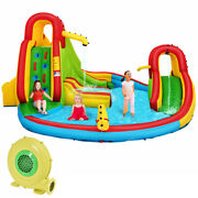 Kids Inflatable Water Slide Bounce Park Splash Pool W/water Cannon And 480w Blower