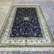 Yilong 5and039x8and039 Blue Handknotted Silk Carpet Living Room Home Interior Rug 360b