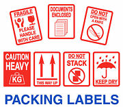 Fragile Stickers - Large 80 X 103mm - This Way Up / Heavy - Packaging Labels