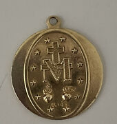 14k Yellow Gold Mary Conceived Without Sin Pray For Us Religious Medal Pendant
