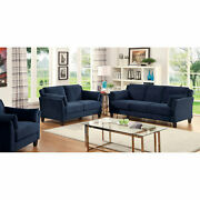 Living Room Furniture Navy Color 3p Set Sofa Loveseat Chair Fitted Back Pillows