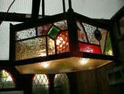 C1910 British Arts And Crafts Leaded Stained Glass Ceiling 3 Light Chandelier