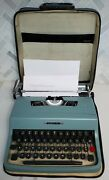 Vintage Olivetti Lettera 32 Manual Portable Typewriter W/ Case Made Italy Works