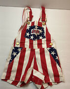 Vintage Lil Fan Usa Overalls 2t Toddler Red White And Blue Stars Stripes