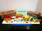 Vtg Hardy Ideal Irwin Plastic Toys Parts Lot Fire Engine Stage Coach Parts Boxes