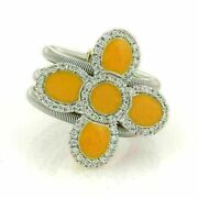 Roberto Coin Diamonds And Enamel 18k Two Tone Gold Floral 3 Flex Band Ring
