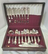 Vtg 1847 Rogers Bros Is First Love 61 Pc Silver Plate Flatware Set For 8 W/ Box