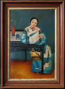 Antique China Export Oil Painting Portrait Of Chinese Woman Oil On Wood Panel