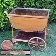 Antique Drop Leaf Table Paalman Furniture Co. Glass Tray Wagon W/ Drawer