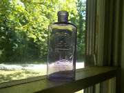 G.p.r Gump's Pure Rye Amethyst Hand Blown 1/2 Pint Whiskey Bottle Early 1900