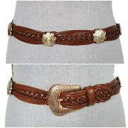 Lady Canterbury Sz S/m 31 Braided Woven Brown Leather Concho Buckle Belt Vintag