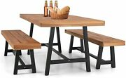 3pcs Outdoor Patio Dining Table Set Wooden Bench For Garden Backyard Furniture