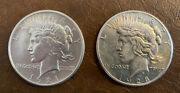1921 P And 1928 P Peace Silver Dollars 1 In Beautiful Display Case. Very Rare