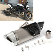 Motorcycle Exhaust Tail Pipe Muffler Carbon Fiber Heat Shield Cover Silver Tips